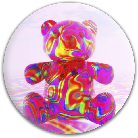 Pink Beary Bear Dynamic Discs Fuzion Judge Putter Disc